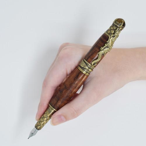 Dragon Fountain Pen(Brass) - Curly Koa