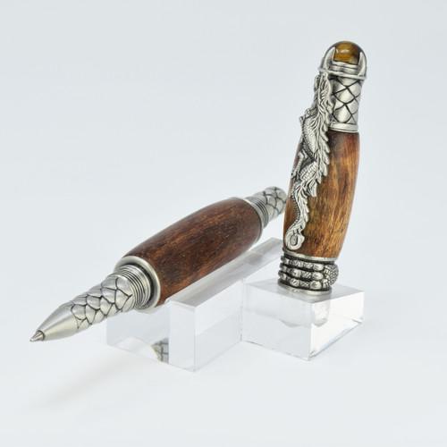Dragon Rollerball Pen(Pewter) - Curly Koa