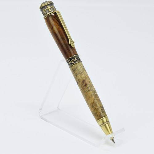 Faith Pen(Brass) - 2 Types of Buckeye Burl