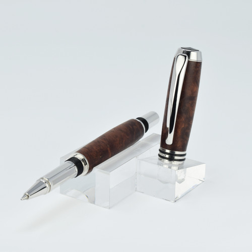 Tycoon Rollerball Pen(Rhodium)- Red Mallee Burl