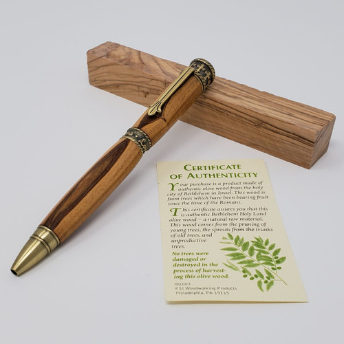 Faith Pen(Brass) - Olivewood from Bethlehem w/ Cherry Case