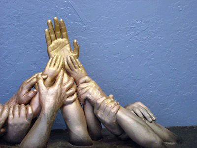 This is a big hand casting. It takes plenty of practice before you should attempt something like this, but it can be done. We've done as many as 15 hands in a single sculpture.