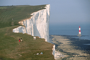 White cliffs of Dover in England made from hydrous calcium sulfate