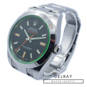 Rolex Milgauss 116400GV Green Crystal *2018 Warranty Card*