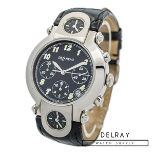 DeLaneau Three Timezone Chronograph Black Dial *UNWORN*
