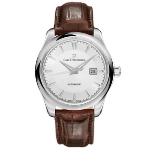 New Carl F. Bucherer Manero Autodate Silver Dial on Strap