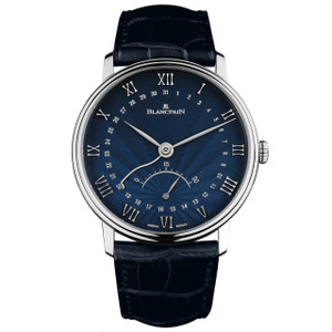 New Blancpain Villeret Ultra Slim Date Blue Dial White Gold