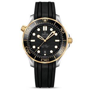 New Omega Seamaster Diver 300M Master Chronometer 42 Black Dial Yellow Gold on Strap