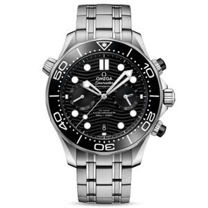 New Omega Seamaster Diver 300M Master Chronometer Chronograph 44 Black Dial on Bracelet