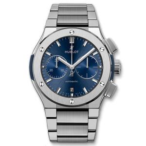 New Hublot Classic Fusion Chronograph 45 Blue Sunray Dial Titanium on Bracelet