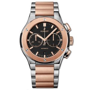 New Hublot Classic Fusion Chronograph 45 Rose Gold Bezel Titanium on Bracelet