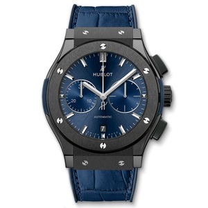 New Hublot Classic Fusion Chronograph 45 Blue Sunray Dial Ceramic on Strap