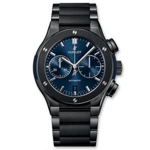 New Hublot Classic Fusion Chronograph 45 Blue Sunray Dial Ceramic on Bracelet