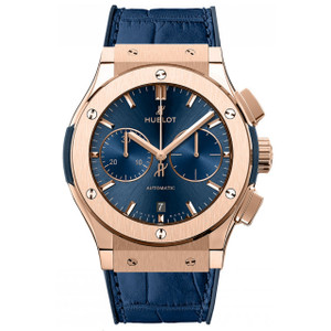 New Hublot Classic Fusion Chronograph 45 Blue Sunray Dial Rose Gold