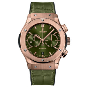 New Hublot Classic Fusion Chronograph 45 Green Sunray Dial Rose Gold