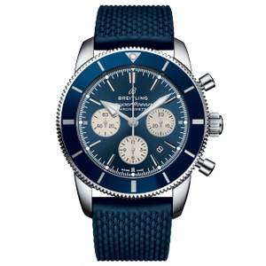 New Breitling Superocean Heritage II B01 Chronograph 44 Blue Dial on Strap