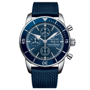 New Breitling Superocean Heritage II Chronograph 44 Blue Dial on Strap