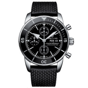 New Breitling Superocean Heritage II Chronograph 44 Black Dial on Strap
