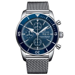 New Breitling Superocean Heritage II Chronograph 44 Blue Dial on Bracelet