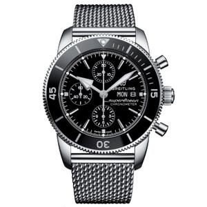 New Breitling Superocean Heritage II Chronograph 44 Black Dial on Bracelet