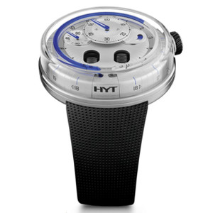 New HYT H0 Silver Dial Blue Accents