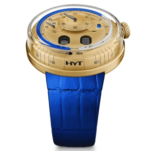 New HYT H0 Yellow Gold Blue Accents
