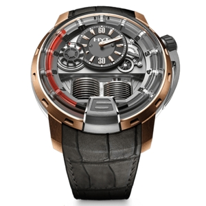 New HYT H1 Silver Dial Red Accents Rose Gold