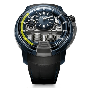 New HYT H1 Blue Dial Yellow Accents Aluminum