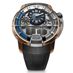 New HYT H1 Silver Dial Blue Accents Rose Gold