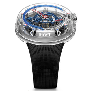 New HYT H20 Silver Skeleton Dial Blue Accents Steel