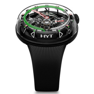 New HYT H20 Black Skeleton Dial Green Accents Steel