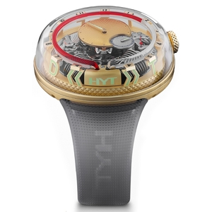 New HYT H20 Black Skeleton Dial Red Accents Yellow Gold