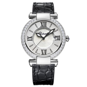 New Chopard Imperiale 36 Silver Dial on Strap Diamond Bezel