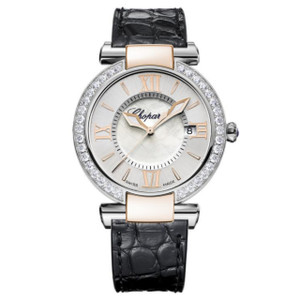 New Chopard Imperiale 36 Silver Dial on Strap Gold Accents Diamond Bezel