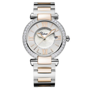 New Chopard Imperiale 36 Silver Dial on Bracelet Gold Accents Diamond Bezel