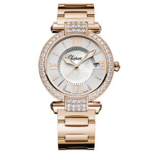 New Chopard Imperiale Quartz 36 Silver Dial on Bracelet Rose Gold