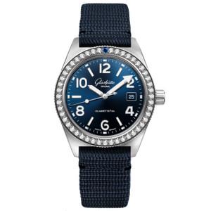 New Glashütte Original Seaq Blue Dial on Cloth Pin Buckle Strap Diamond Bezel