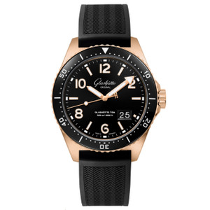 New Glashütte Original Seaq Panorama Date Black Dial on Rubber Strap Red Gold
