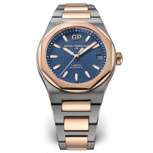 New Girard-Perregaux Laureato 42 Blue Dial on Bracelet Pink Gold Bezel