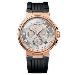 New Breguet Marine Chronograph Rose Gold on Rubber Strap