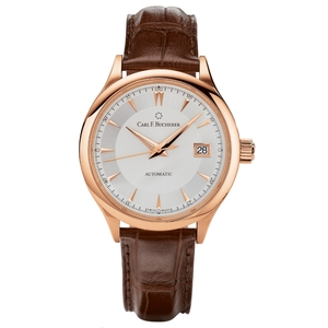 New Carl F. Bucherer Manero Autodate 38 Silver Dial Rose Gold on Strap