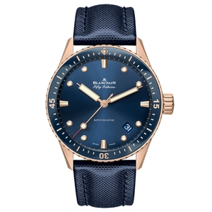 New Blancpain Fifty Fathoms Bathyscaphe Blue Dial Rose Gold