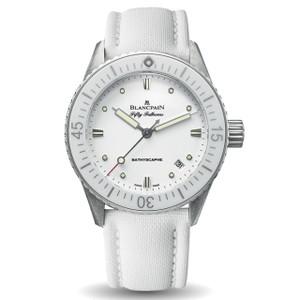New Blancpain Fifty Fathoms Bathyscaphe White Dial on White Strap