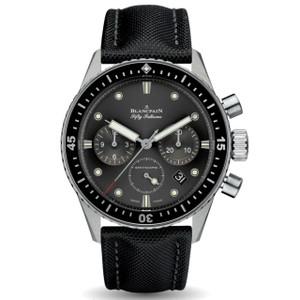 New Blancpain Fifty Fathoms Bathyscaphe Chronographe Flyback Grey Dial on Black Strap