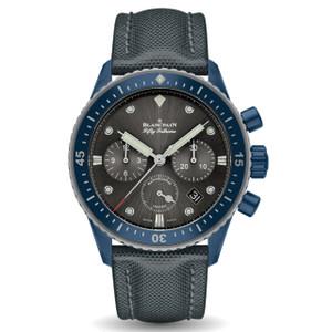 New Blancpain Fifty Fathoms Bathyscaphe Chronographe Flyback Ocean Commitment Grey Dial