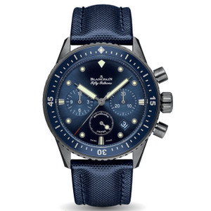 New Blancpain Fifty Fathoms Bathyscaphe Chronographe Flyback Ocean Commitment Blue Dial