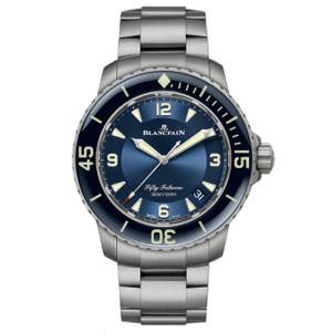 New Blancpain Fifty Fathoms Automatique Blue Dial Titanium on Bracelet