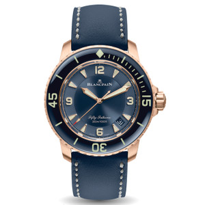 New Blancpain Fifty Fathoms Automatique Blue Dial Rose Gold on Calf Strap