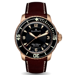 New Blancpain Fifty Fathoms Automatique Black Dial Rose Gold on Calf Strap