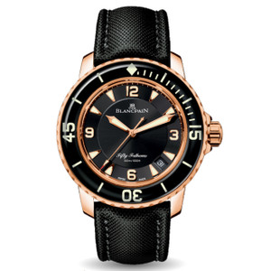 New Blancpain Fifty Fathoms Automatique Black Dial Rose Gold on Cloth Strap